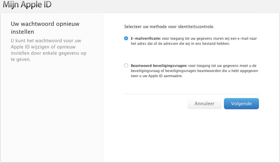 wachtwoord iCloud vergeten
